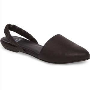 Eileen Fisher Tula Black Flat Slingback Shoe SZ 8